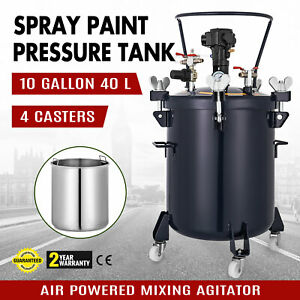10gallon 40l Spray Paint Pressure Pot Tank 4 Clamps Air Powered Roll Caster