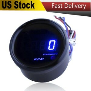 2 Digital Tachometer Blue Led Display Smoke Lens 9999 Rpm Warning Light