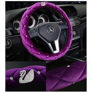 Luxury Plush Purple Car Steering Wheel Cover 38cm Bling Rhinestone Swan For Girl