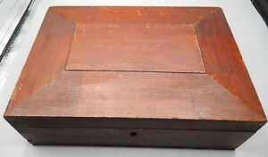 Antique Chamfered Top Red Mahogany Document Papers Personal Items Box W Mirror