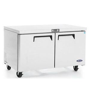 New 48 2 Door Undercounter Worktop Refrigerator With Casters Free Shipping