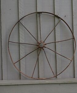 Old Vintage Antique Primitive Steel Spoke Wagon Cart Implement Wheel Farm Decr C