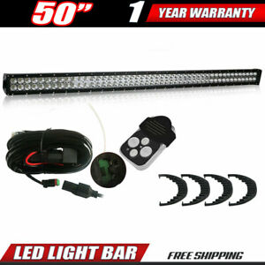 50 Inch 6000k Off Road Led Fog Lamp Work Light Bar For Gmc Chevy Suv Jeep 4wd