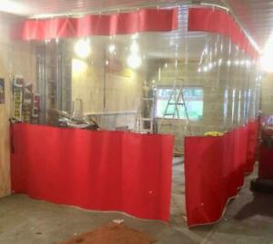 Red Clear Heavy Duty L Shape Corner Prep Area Paint Booth Curtains 30ft X 9ft