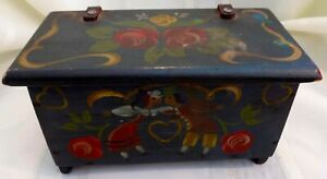Antique Country Primitive Miniature Trunk Box Original Hand Painted Scandanavia