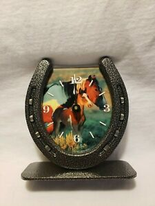 Freestanding Horseshoe Mare And Foal Clock