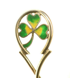 Antique Sterling Silver Plique A Jour Green Enamel Shamrock 4 Demitasse Spoon