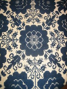 Wonderful Antique 1841 Coverlet Navy Cream Reverseable Birds And Flowers