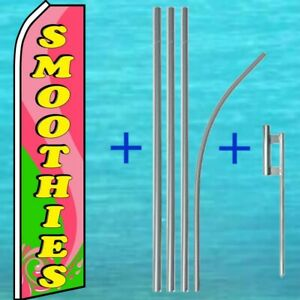 Smoothies Flutter Flag Pole Mount Kit Tall Wind Feather Swooper Banner Sign