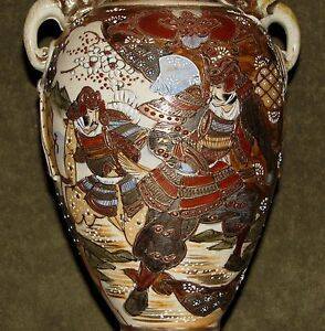 Large 12 Antique Japanese Satsuma Vase W Handles Samurai Warriors Design Signed