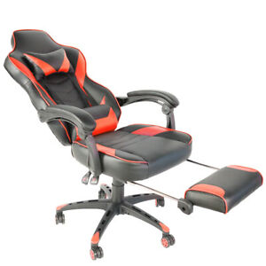 High Back Recliner Seat Gaming Chair Office Race Style Leather Adjustable Swivel
