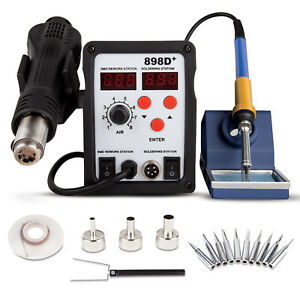 2in1 898d Soldering Iron Rework Station Hot Air Gun Tip 11 Tips Heat Gun