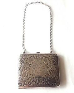 Antique R Blackinton Sterling Silver Etched Both Sides Floral Purse W Chain