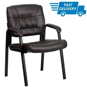 Office Chair Without Wheels Leather Guest Stool Computer Task Desk Seat With Arm