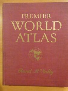 1952 Premier World Atlas Rand Mcnally Maps Tables Index 272 Pp Good Condition