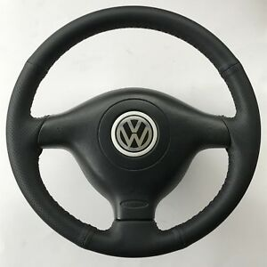 Vw Volkswagen 3 spoke Perforated Leather Steering Wheel Cover Mk4 Mk3 5 Oem Blk