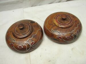 Pair Wood Burl Turned Wood Round Boxes W Silver Inlay Wooden Lid