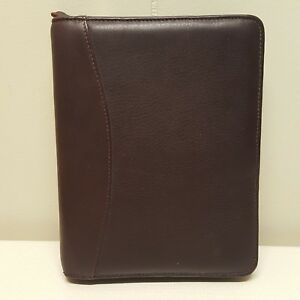 Franklin Quest Planner Binder Brown Compact 6 Rings Full Grain Nappa Leather