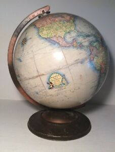 Vintage Rand Mcnally Indexed Terrestrial Art Globe Metal Base W Daylight Scale