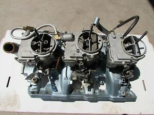 Vintage Gm rebuilt Pontiac Intake 3 Deuce Intake Carburetor Ready To Run