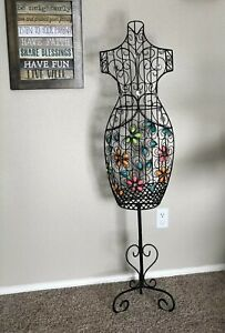 Metal Dress Mannequin Female Wire Stand Decor Vintage Look Body Sequin