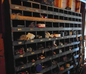 Old Industrial Factory Wooden Parts Bin Shelving Over 90 Compartments