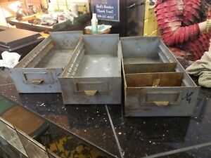 3 Vintage Grey Metal Drawer Divided Organizer Box Storage Part Bin Industrial