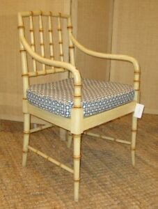 Vintage Mcguire Faux Bamboo Arm Chairs With Custom Seat Cushions