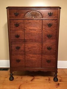 Antique Vintage Solid Wood Tallboy Highboy Dresser With Beautiful Turned Feet
