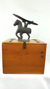 Antique Vtg Cast Iron Wood Box With Figural Horse Shoe Shine Stand Box