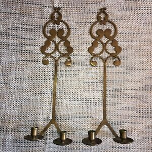 Italian Vintage Pair Brass Wall Candle Light Sconce Stamped 21 High