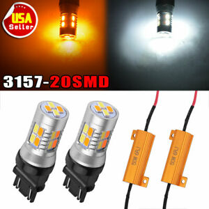 2 Pcs 3157 3156 Dual Colorwhite Amber Yellow 5730 20 Smd Led Bulbs Resistors