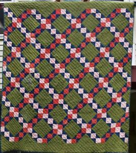Antique Quilt Four Patch Chain C 1880 S Green Blue Red Calicos 18383