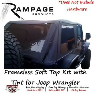 109635 Rampage Frameless Soft Top Kit With Tint For Jeep Wrangler 2004 2006