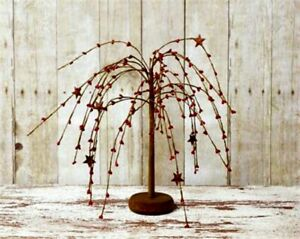 Country Primitive Red Pipberry Willow Tree 13 5 Inches Tall Wooden Base