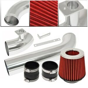 For 92 98 Bmw E36 3 series 6 Cylinder Engine Cold Air Intake Polish Filter Red