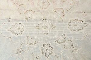 Antique Fabulous Tambour Lace Embroidered Net Daybed Coverlet 108 Long