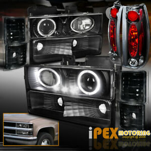 94 98 Chevy C K1500 Suburban 10pc Projector Led Headlights Tail Lights Black