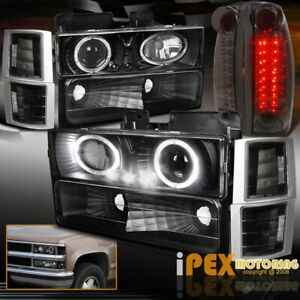 94 98 Gmc Sierra Yukon Projector Black Headlight Signal Led Smoke Tail Light