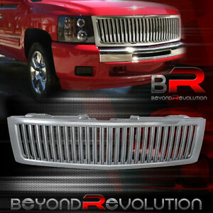 Fit 2007 2012 Chevy Silverado Vertical Style Upgrade Replacement Grille Chrome