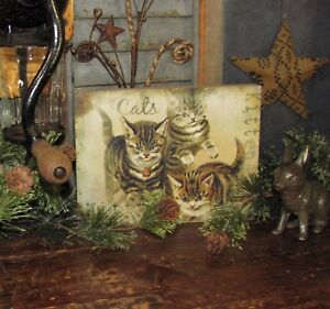 Primitive Antique Vtg Style Wooden Box Kitten Cat Lover Sign Shelf Sitter
