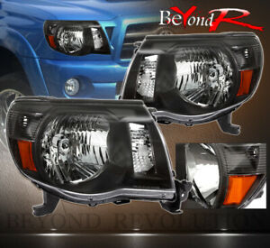 For 2005 11 Toyota Tacoma Black Headlights With Amber Reflector Plug