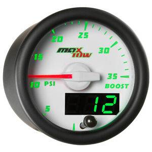 52mm White Maxtow Double Vision Turbo 35psi Boost Gauge Green Digital Analog