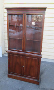 55208 Antique Mahogany Corner China Cabinet Curio