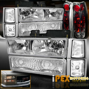 1994 1998 Gmc Sierra Yukon Chrome Headlights Corner Signal Smoke Tail Lights