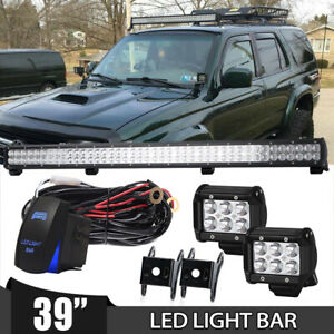 39inch 2 Row Led Light Bar Fog Driving Bumper Grill Roof Tail Off Road 40