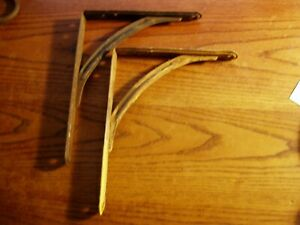 2 Vintage Matching Old Industrial Steel Shelf Brackets 7 X 8 7 8