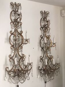 Pr Italian Macaroni Beaded Crystal Sconces