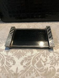 Japanese Sterling Silver Wood Small Tray