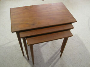 Vintage Danish Modern Teak Nesting Stacking Mid Century Side Tables Set 3 Norway